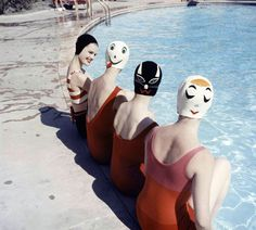 """Crazy Caps"", swimming caps with faces is the invention of Long Island housewife Betty Geibs, manufactured now under the name Betty Darling, photo by Ralph Crane, 1959."