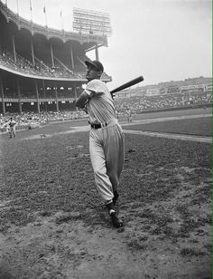 Yankee Stadium in 1946: Ted Williams warming up before a Red Sox - Yankee game.