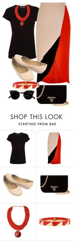 """REd ANd BLAck"" by goodvibes00 on Polyvore featuring Vince, River Island, Prada, Urbiana and Tory Burch"