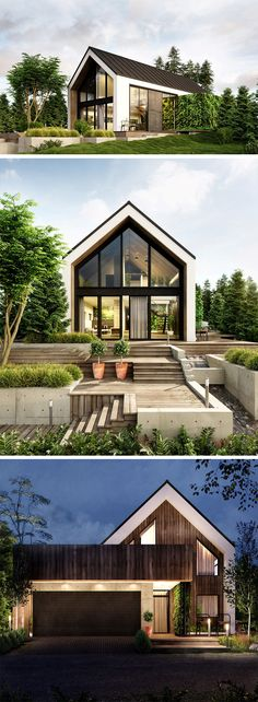 A perfect fit amidst Poland's green terrain is this house, commissioned for a single family, designed by Kartik Reddy. Paying tribute and respect to the greenery, the house has a number of vertical gardens near the side passage and back entrance. Facade Design, Exterior Design, Exterior Siding, Garden Architecture, Architecture Design, Wood Facade, Wood Siding, Glass Facades, House Entrance