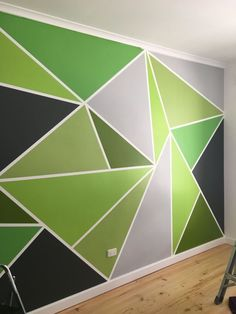 Lovely Triangle On Wall Painting Wall Arts Triangle Painted Feature Wall Wallpaper Painted Feature Wall, Feature Wall Bedroom, Feature Walls, Geometric Wall Paint, Room Wall Painting, Wall Painting Design, Bedroom Wall Designs, Triangle Wall, Diy Wand