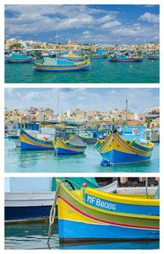 Traditional Maltese fishing boats in Marsaxlokk Harbor, Malta