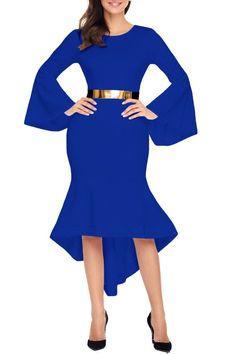 Robe Mi Longue Bleu Manchon de Cloche Ourlet Ceinture Pas Cher www.modebuy.com @Modebuy #Modebuy #Rouge #mode #partydresses #outfitpost #inspiration