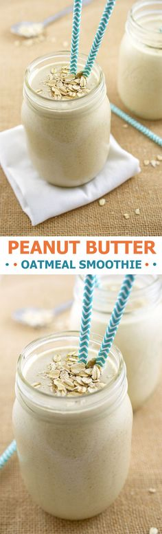 Thick and creamy Peanut Butter Oatmeal Smoothie loaded with creamy peanut butter, old fashioned oats, bananas and vanilla soy milk. | chefsavvy.com #recipe #breakfast #oatmeal