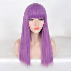 Descendants 2 Mal Cosplay Wig Long Purple Dress Up Costumes Child Girls Wig UK , Dress Up Costumes, Costume Wigs, Cosplay Wigs, Wig Styles, Long Hair Styles, Full Bangs, Wigs Online, Cosplay Tutorial, Hair Reference