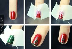 Looking for some fancy holiday manicure ideas to dress up your nails? We have some collections of nail arts, the DIY Converse Nail Art Design Ideas; Butterfly Nail Art Ideas and more. Christmas Tree Nail Art, Cute Christmas Nails, Christmas Nail Art Designs, Holiday Nail Art, Xmas Nails, Christmas Trees, Diy Christmas, Christmas Design, Merry Christmas