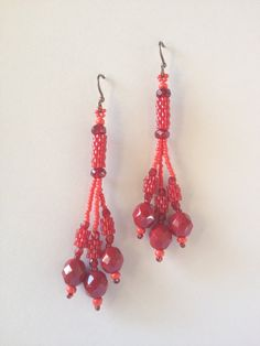 Earrings:  Red Seed Bead Tubes with 3 Red Dangles, Hand Made, One of a Kind, OOAK