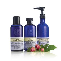 Rehydrating Rose Collection by Neal's Yard Remedies/NYR Organic for Normal to Dry Skin. Facial Wash, Toner, and Daily Moisturizer.