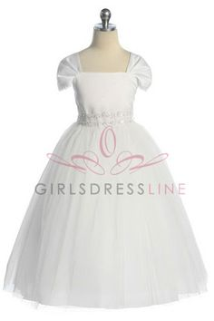 Short Sleeve Tulle Bottom Communion Dress