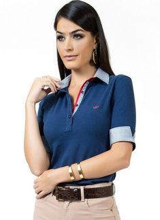 1dcca45f56 camisa polo marinho feminina principessa ingrid look Blusa Polo Feminina