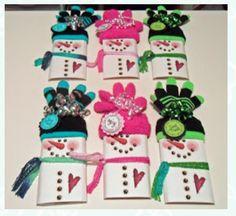 Candy bar / glove snowmen!