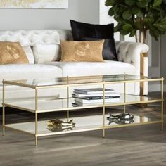 Willa Arlo Interiors Aloysius Coffee Table with Storage Table Base Color: Gold Decor, Table, Furniture, Interior, Table Storage, Willa Arlo Interiors, Coffee Table With Storage, Coffee Table, Living Room Furniture