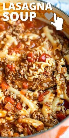 Hearty Soup Recipes, Cheesy Recipes, Crockpot Recipes, Cooking Recipes, Mini Dessert Recipes, Lasagna Soup, Pasta, Mexican Food Recipes, Easy Meals