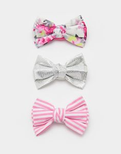 Clarette Cream Ditsy Hair Bows 3 Pack , Size One Size | Joules UK
