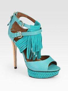 Boutique 9 - Nadeline Suede and Leather Fringe Platform Sandals - Saks.com teal