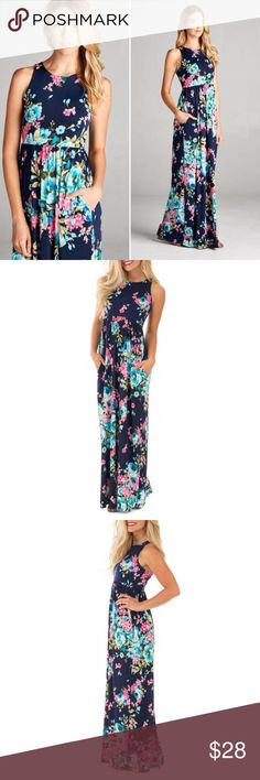 Bellamie Navy Floral Pocket Maxi Dress Navy floral maxi dress featuring a pleated bottom and pockets and made of spandex & polyester for a soft, flowy, and stretchy feel. This dress is brand-new, never worn and absolutely gorgeous in person!! Smoke & pet free home. Fits true to size. bellamie Dresses Maxi