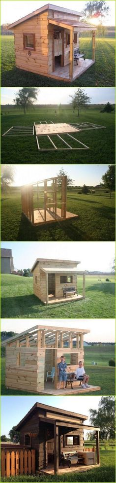 Shed Plans - DIY Kids Fort which could be readily altered to make a nice LARP or Ren Faire building. - Now You Can Build ANY Shed In A Weekend Even If You've Zero Woodworking Experience! Build A Shed Kit, Diy Shed Kits, Building A Shed, Build House, Building Ideas, Diy Projects Plans, Woodworking Projects Plans, Diy Woodworking, Project Ideas