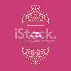 Decorative vector monogram for design, line art frame. royalty-free stock vector art