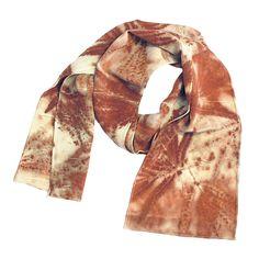 "Leaf Print Silk Scarf 36, matte crepe de chine, 8"" x 50"""