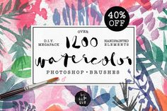 40% Off! Watercolor PS Brushes 1200+ by kite-kit on Creative Market