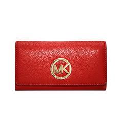 ba878433fb41 MICHAEL Michael Kors Fulton Leather Carryall Wallet Red Leather Case, Brown  Leather, Michael Kors