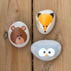 Woodland creatures rock painting. Adorable bear, owl and fox.