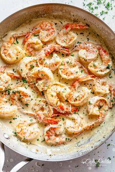 Creamy Garlic Shrimp Recipe | cafedelites.com