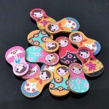 Furo de boneca russa pintado de madeira botões de abertura de decoração Scrapbooking Diy 50 pcs 30 x 17 mm MT0181X(China (Mainland))