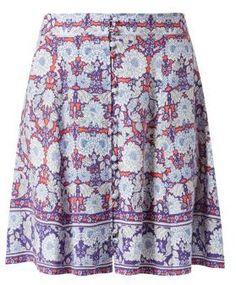 b9fe3d94f7b6 New Look Purple Button Front Tile Print Border Skater Skirt - ShopStyle Mini