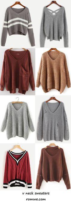 v neck sweaters 2017 - romwe.com