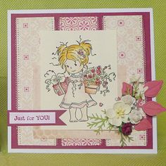 Pretty in Pink card using whimsy stamps
