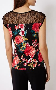 FLORAL-PRINT T-SHIRT | Luxury Women's botanical | Karen Millen