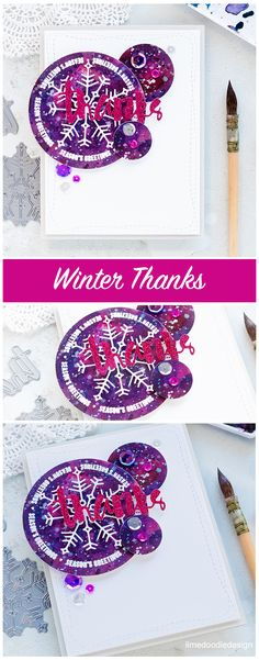 I've not tucked my Holiday supplies away quiet yet, but using them instead to create a winter thank you card. Find out more here: http://limedoodledesign.com/2017/12/winter-thanks-2/