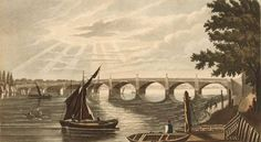 Old Vauxhall Bridge viewed from the Lambeth side.  The bridge was built in 1816 to link north Lambeth with the west end of London.