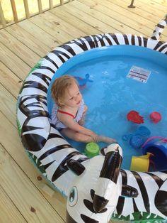 Kinsley enjoying the pool on the new deck. Thanks Daddy & Papa.