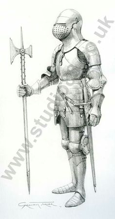 English knight c.1434, based on the tomb effigy of John Fitzalan, Earl of Arundel, in the Fitzalan Chapel, Arundel. It exhibits many characteristics of English armour from this period, such as the great bascinet helmet and deep fauld protecting the loins with small tassets suspended from the lowest lame. Armours of this syle would have seen action during the later stages of the 100 Years War.