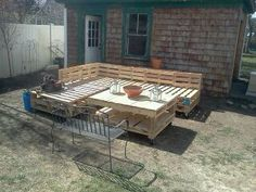 recycled outdoor sectional with casters by RoomfulOfArt on Etsy, $250.00