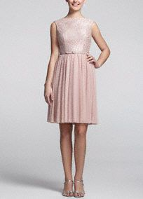 Timeless and chic, you will look flawless and pretty in pink!  Sleeveless A-line dress features ultra-feminine lace bodice with a belt at the waist to help create a flattering silhouette.  Mesh skirt is comfortable and easy to move in.  Pair with a metallic shoe and delicate jewelry to finish your look.  Fully lined. Imported polyester. Back zip. Dry clean only.
