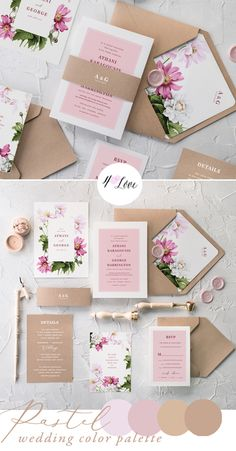 Pastel Wedding Colors for Spring and Summer 2018! Romantic and delicate shades with addition of beautiful flowers and modern calligraphy. Just a perfect combination. Put together a pretty pastels - cream, pink, rose, nude, taupe for ideal wedding invitation #wedding