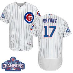 d56e40f118e Cubs  17 Kris Bryant White Flexbase Authentic Collection 2016 World Series  Bound Stitched MLB Jersey