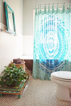 White Teal Mandala Shower Curtain. #showercurtain #homedecor #EBhome…