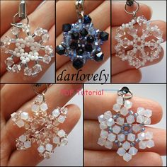 5 Swarovski Snowflake Charm Bundle  PDF Tutorials by darlovely, $19.00