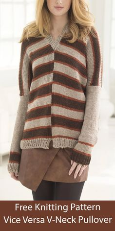 Free knitting pattern for long-sleeved pullover sweater with staggered stripes that continue down ragan sleeves, v-nec, and optional split front hem. Knit flat. Sizes S/L, 1X-3X. Worsted weight yarn. Designed by Galina Carrol for Lion Brand. Sweater Knitting Patterns, Pullover Sweaters, Stripes, V Neck, Stitch, Sleeves, Design, Fashion, Moda