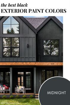 Must see tried and true black exterior paint colors. Best House Colors Exterior, Exterior Paint Color Combinations, Exterior Paint Colors, Dark Paint Colors, Best Exterior Paint, Modern Color Schemes, Exterior Color Schemes, House Paint Exterior, Exterior Homes