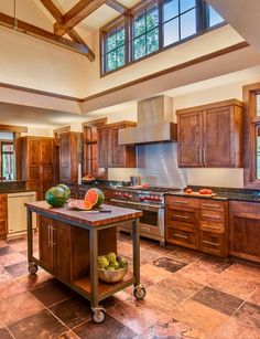 Custom Wooden Kitchen Carts with Cabinet Ideas too much brown in this design but loving the stove / oven area!