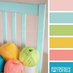Color Hues:  Shabby Pastel Yarn Balls on a Painted Blue Wooden Chair