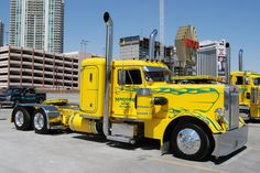 Custom yellow and green chromed out Peterbilt 351.