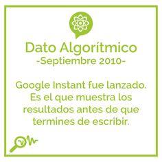 Dato Algorítmico -Septiembre 2010-  Google Instant fue lanzado. Es el que muestra los resultados antes de que termines de escribir.