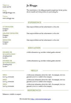 Smart Resume Wizard Indented Cvrésumé Template  How To Write A Cv  Cv Template Master .