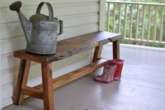 This unique rustic bench is made out of reclaimed wood and has a beautiful live edge. The natural beauty of the wood is protected with a clear polyurethane. This bench makes the perfect addition to your entryway, porch, dining set or at the end of your bed. The bench measures 60L x 11 1/2W x 17H This bench is ready to ship / deliver / be picked up. DELIVERY / SHIPPING - IMPORTANT!: Please message us before ordering to discuss pickup/delivery/shipping options. Fre...